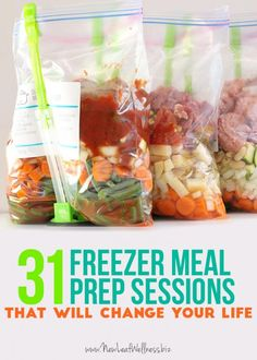 """31 Freezer Meal Prep Sessions That Will Change Your Life Believe it or not, I've shared 31 freezer prep sessions over the last year. During the """"prep session,"""" all I do is combine each recipe's meat, vegetables, sauces and spices in a plastic baggy… Slow Cooker Freezer Meals, Make Ahead Freezer Meals, Crock Pot Freezer, Freezer Cooking, Crock Pot Cooking, Slow Cooker Recipes, Crockpot Recipes, Easy Meals, Cooking Recipes"""