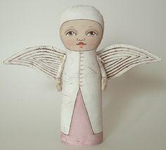 Angel Original Contemporary Folk Art Doll  by cartbeforethehorse