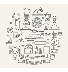 Cooking foods and kitchen outline icons set vector by kraphix on VectorStock®