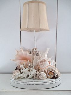 Large Nautical Handmade Shell/Anchor Lamp by searchnrescue2