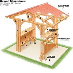 Grill Gazebo Plans: Make a Grill Zbo!, Grill Gazebo Plans: Make a Grill Zbo! Metal Pergola, Pergola With Roof, Wooden Pergola, Pergola Patio, Pergola Kits, Pergola Ideas, Wooden Gazebo Plans, Rustic Pergola, Backyard Gazebo
