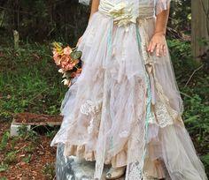 Tattered Romance Wedding skirt Custom order by amandarosebridal