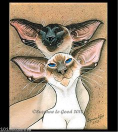 LARGE LIMITED EDITION UNMOUNTED SIAMESE CAT PAINTING PRINT BY SUZANNE LE GOOD | eBay