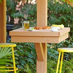 Outdoor Deck Ideas - Stretch your deck or patio dining space by adding these built-in DIY tables directly to your deck posts to supplement outdoor furniture. You can adapt the height to eat standing or seated on an outdoor stool or chair. Pergola Patio, Backyard Patio, Gazebo, Cheap Pergola, Backyard Projects, Outdoor Projects, Outdoor Stools, Outdoor Decor, Outdoor Bars