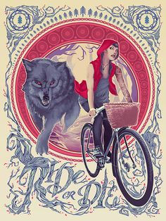 Ride or Die - Bicycle, Cycling, Red Riding Hood, Wolf Art Print Poster - Jeff Langevin