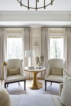 Window Treatment Ideas: Roman Shades and Drapery Panels Learn basic terminology about popular window treatments like roman shades, natural woven shades and drapery panels Curtains Living, Living Room Windows, Formal Living Rooms, Home Living Room, Living Room Designs, Living Room Decor, Living Room Window Treatments, Curtain Ideas For Living Room, Custom Window Treatments