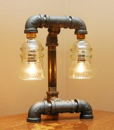 Glass Insulator Steampunk Industrial Style Pipe Lamp