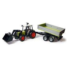 bruder tracteur claas avec pelle et remorque