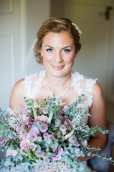 Bride Bridal Make Up Bouquet Pink Flowers Pastel Country Garden Wedding http://www.katherineashdown.co.uk/