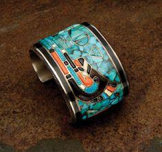 "Preston Monongye, Hopi, mosaic bracelet. For the artist biography, see ""American…"