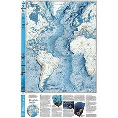 National Geographic Maps World Atlantic Ocean Floor Map
