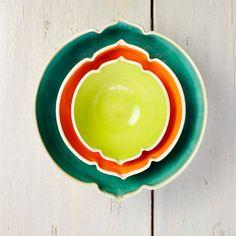 ceramic nesting bowls modern sculptural geometric vessels in Neon Sea Arabesque series set of 3