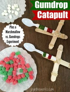 """Fun <a class=""""pintag searchlink"""" data-query=""""%23ChristmasSTEM"""" data-type=""""hashtag"""" href=""""/search/?q=%23ChristmasSTEM&rs=hashtag"""" rel=""""nofollow"""" title=""""#ChristmasSTEM search Pinterest"""">#ChristmasSTEM</a> Experiment: Make a gumdrop catapult and compare to mini marshmallows to see which one goes the farthest! <a class=""""pintag searchlink"""" data-query=""""%23STEM"""" data-type=""""hashtag"""" href=""""/search/?q=%23STEM&rs=hashtag"""" rel=""""nofollow"""" title=""""#STEM search Pinterest"""">#STEM</a>"""
