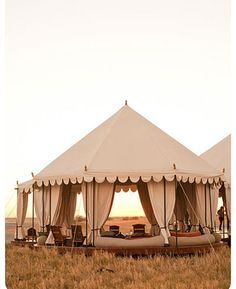 San Camp, Botswana: Boasting large luxurious tents (all powered by solar energy) with elegant four-poster beds as well as a tented yoga pavilion, couples can enjoy the 'Out of Africa' fantasy without leaving their wellness routines behind.