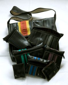Purses made in Santa Cruz, CA from old bicycle inner tubes and bicycle tires. Handmade by Totally Tubular Design