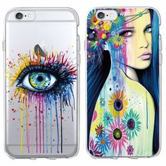 Fashion Watercolor Drawing Art Girl Sunflower Floral Big Eye Soft Phone Case For iPhone 7 7Plus 6 6S 6Plus 5 5S SE 5C 4 SAMSUNG