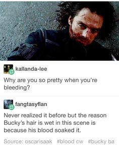 or because it's snowing outside or he's sweating because he's fucking fighting <-- Friendly remainder that Tony kick him in the head with his ARMORED leg (I'm slowly dying inside everytime I think about it) Marvel Memes, Marvel Dc Comics, Marvel Avengers, Sebastian Stan, Winter Soldier Bucky, Bucky And Steve, Dc Movies, Stucky, Bucky Barnes