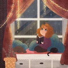 #Repost @childrenswritersguild (@get_repost) #Repost @morgansketch A little cozy nook to spend a rainy day with a good book sounds like a perfect way to spend any day Haven't had the best week so I wish I were spending my days here and making art all day . #digitalart #illustration #characterdesign #art #kidlit #childrensliterature #kidlitart #photoshop #autumn #rain #readingnook #dog #cat #landscape #conceptart #speedpaint #cute #cozy #childrensillustration #childrensbookillustration #light…