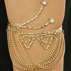 ARM CUFF  (  3  IN STOCK  ) TRY THIS ELEGANT PIECE OF JEWELRY ON YOUR ARM, THIS ARM CUFF SHOWS THE UTMOST SOPHISTICATION  IN DESIGN  TRIANGLE DROP CHAIN WITH STONES ACCENT Jewelry