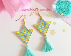 History of Earrings Bead Jewellery, Seed Bead Jewelry, Seed Bead Earrings, Tassel Earrings, Beading Projects, Beading Tutorials, Beaded Jewelry Patterns, Beading Patterns, Art Perle