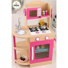 KidKraft Wooden Play Kitchen in Pink - Toys & Games - Pretend Play & Dress Up - Kitchen & Housekeeping Playsets