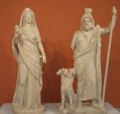 Isis-Persephone crowned with disc and crescent and holding a sistrum; Pluton Serapis crowned with a modion, with the sceptre - from Gortyna, 180-190 CE, Heraklion Archaeological Museum