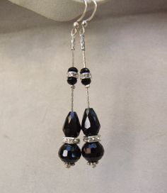 Very elegant rhinestones and black onyx earrings by creatodame