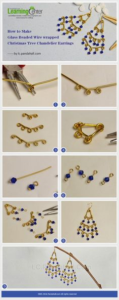 How to Make Glass Beaded Wire wrapped Christmas Tree Chandelier Earrings from LC.Pandahall.com