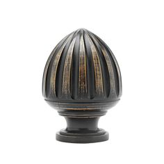 """2 1/4"""" Acorn Finial. Black with Gold Wash."""