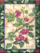 Heritage Raspberries - Tile Mural Decorative Tile Backsplash, Kitchen Backsplash, Tile Murals, Wall Tiles, Tumbled Marble Tile, Fruit Picture, Fruits Images, Tile Projects, Raspberries