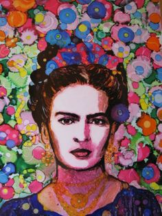 """ARTFINDER: """"Psychedelic Frida"""" by raffaella bertolini - My personal homage to one of my favorite Artist, the great Frida Kahlo.(alcohol Inks, indian black ink, pencil on Dibond aluminium plate)"""