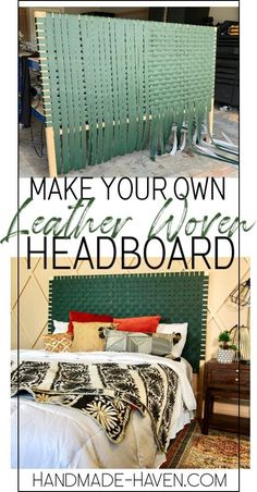 DIY Leather Woven Headbaoard How to make a DIY Leather Woven Headboard using vinyl fabric for Farmhouse Style Bedrooms, Farmhouse Bedroom Decor, Diy Home Decor Bedroom, Decor Room, Diy Leather Headboard, Diy Headboards, Diy Bed Headboard, Canvas Headboard, Homemade Headboards