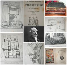 For the birthday of French Gothic Revival architect and theorist, Eugène Emmanuel Viollet-le-Duc (18140-1879) we pulled some images from two of his best known works: Dictionnaire raisonné de l'architecture française du XIe au XVIe siècle(1854–1868) and Histoire de l'habitation humaine, depuis les temps préhistoriques jusqu'à nos jours (1875)  Dictionnaire is 10 volumes and, like Histoire, is printed in the original French with illustrations.