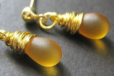 Clouded Amber Earrings Gold Post Earrings. Drop by TheTeardropShop, $20.00