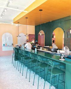 Home Decoration Sale Clearance Colorful Cafe, Colorful Restaurant, Dark Interiors, Shop Interiors, Commercial Design, Commercial Interiors, Cafe Design, Store Design, Architecture Restaurant