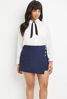 FOREVER plus size button-front asymmetric skort Trendy Plus Size Clothing, Plus Size Dresses, Plus Size Outfits, Plus Size Fashion, Dresser, Forever 21 Plus, Plus Size Shorts, Plus Size Beauty, Dressy Dresses