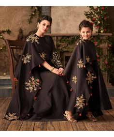"""Mommy and I wear matching party wear dresses. Don't we look lovely? Mothers Dresses, Girls Dresses, Mom Daughter Matching Dresses, Matching Outfits, Mother Daughter Fashion, Mother Daughters, Lehenga, Anarkali, Baby Dress Design"
