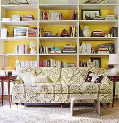 I have dreams of painting the backs of my cheap IKEA bookshelves.  LOVE the colored backs.