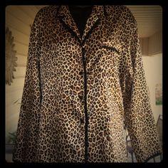 ‼️NEW LISTING‼️Satin Sleepwear Top Satin leopard print button down pj top  Tops Button Down Shirts