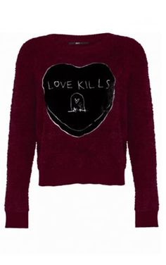 Iron Fist Love Kills Burgundy Sweater    Super cute soft jumper from Iron Fist! This gorgeous fluffy burgundy jumper features a large black velvet heart on the chest with a white embroidered gravestone bel...