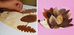 DIY hedgehog tinker with leaves - DIY - Do it yourself - Selber Machen - Europaletten - Welcome Crafts Easy Fall Crafts, Fall Crafts For Kids, Craft Activities For Kids, Preschool Crafts, Diy For Kids, Diy And Crafts, Hedgehog Craft, Cute Hedgehog, Paper Hearts