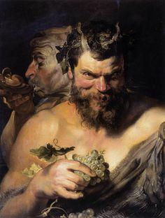 Two Satyrs: 1618 by Peter Paul Rubens (Alte Pinakothek, Munich, Germany)