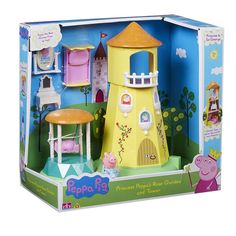 Peppa Pig Princess Rose Garden and Tower Playset with Bed Pillow Swing Mirror.