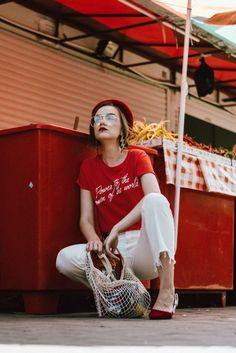 Mango trending feminist t-shirt, feminist tee trending on pinterest and instagram, feminist t-shirt, feminist, zara white raw hem mom jeans, levi's fit white mom jeans, mango conscious organic cotton white mom jeans, raw hem denim, straight leg white jeans, the best white jeans you will find on market, farmers market lifestyle editorial, farmers market fashion editorial, flea market red beret, how to wear a red beret like a parisian, ways to wearing a beret, how to wear a beret, how to pull…