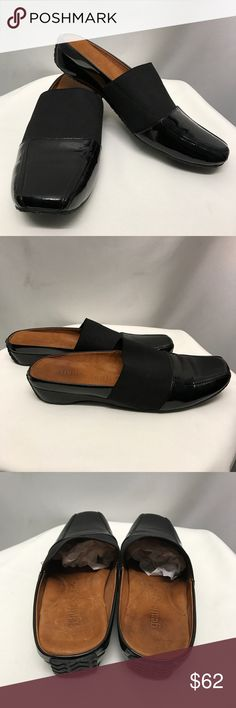 GENTLE SOULS by Kenneth Cole mules Beautiful shiny black patten leather slip on mules w elastic band. Super soft tan leather inside. Kenneth Cole Shoes