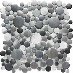 Aluminium Brushed Black Gray Blue Bubble Dots Mosaic Backsplash Tile-1 Sheet