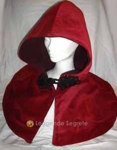 Red hooded velvet cape