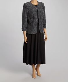 Look what I found on #zulily! Black & Silver Shimmer Jacket & Midi Dress - Plus by Jessica Howard #zulilyfinds