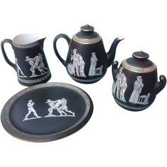 "Pratt Fenton ""OLD GREEK""  Ceramic Tea Set, Black Matte With Gilt Trim"