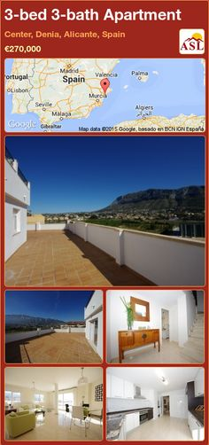 Apartment for Sale in Center, Denia, Alicante, Spain with 3 bedrooms, 3 bathrooms - A Spanish Life Apartments For Sale, Murcia, Valencia, Alicante Spain, Built In Wardrobe, Double Bedroom, Floor Space, Terrace, Palmas